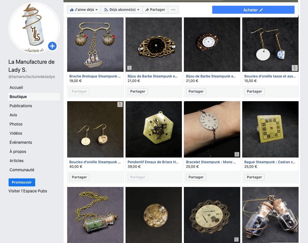 boutique Facebook la Manufacture de Lady S.