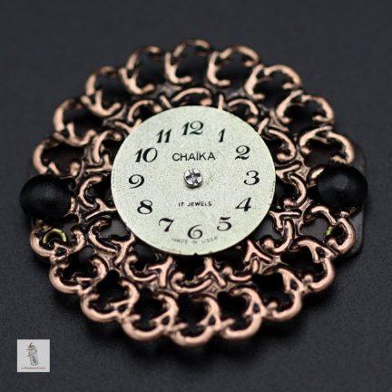 bijou de barbe Steampunk rond cadran de montre la manufacture de lady s bijoux steampunk