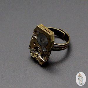 Bague Steampunk mouvement rectangle la Manufacture de Lady S. bijoux Steampunk