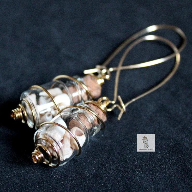 BO fioles nature boucles d'oreille Steampunk la Manufacture de Lady S. bijoux Steampunk