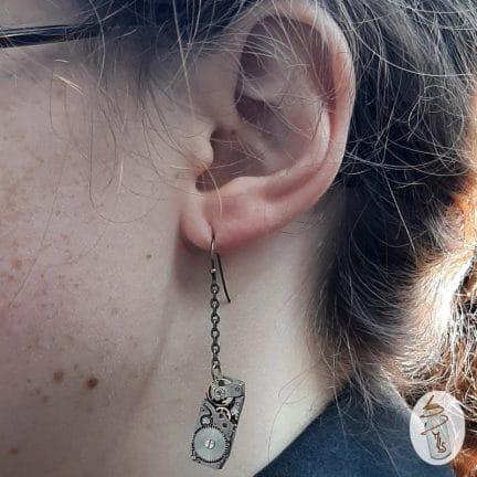 boucles d'oreille mécanisme rectangle la Manufacture de Lady S. bijoux Steampunk