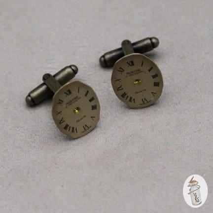 Boutons de manchette ovales cadrans de montre la Manufacture de Lady S. bijoux Steampunk