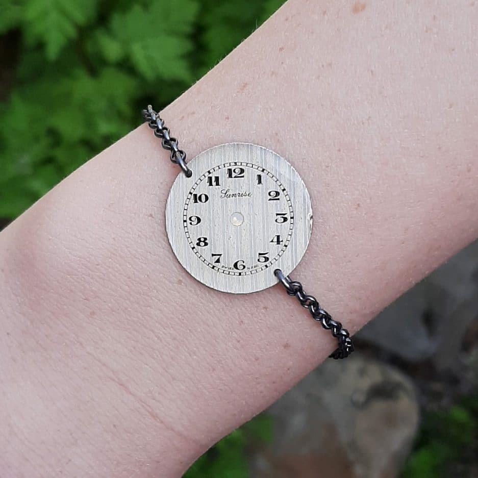 Bracelet Steampunk Swarovski et cadran la manufacture de lady s bijoux steampunk