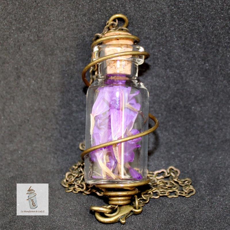 pendentif collier Steampunk fiole nature quatre saisons la manufacture de lady s bijoux steampunk