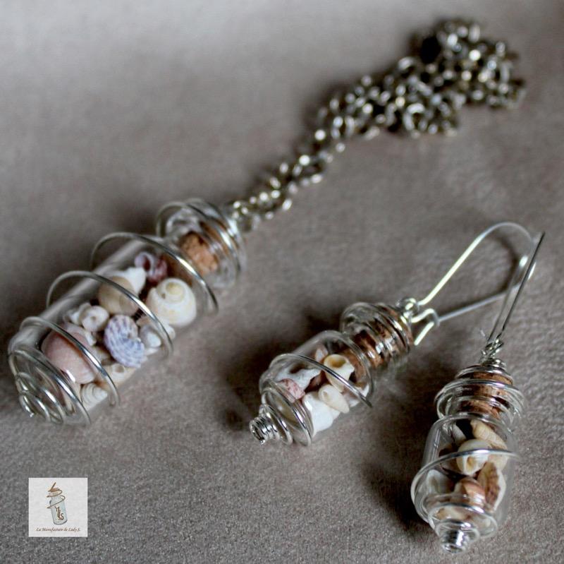 pendentif et BO fioles nature boucles d'oreille Steampunk la Manufacture de Lady S. bijoux Steampunk