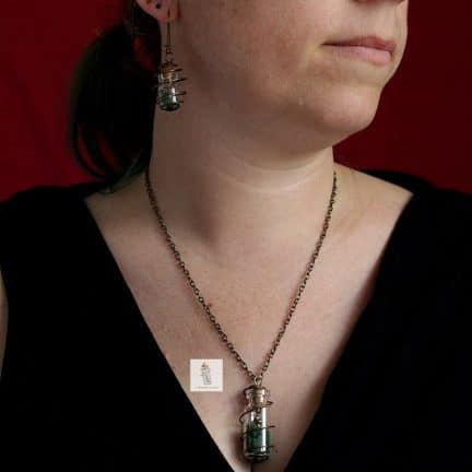 pendentif collier et BO boucles d'oreilles Steampunk fiole nature quatre saisons la manufacture de lady s bijoux steampunk
